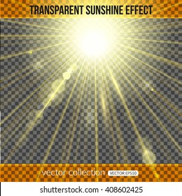 Sunshine effect over transparent background. Vector illustration.