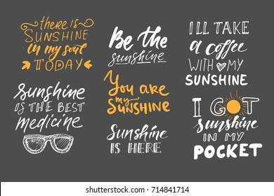 Sunshine Hand Lettering Quotes You There Stock Vector Royalty Free