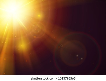 Sunshine Light Effect with Copy Space. Gold Warm Sun Rays with Transparency. Realistic Holy Sunlight with Beams, Glow, Flare, Solar Dust. Magic Sunbeams. Realistic Sunset or Sunrise.