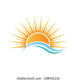Sunshine logo over water waves. Vector design
