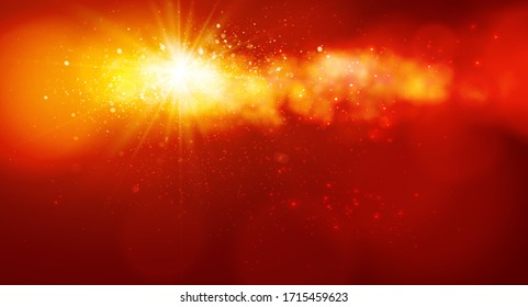 Sunshine with sparkle and dust on the sky, Abstract background. Vector
