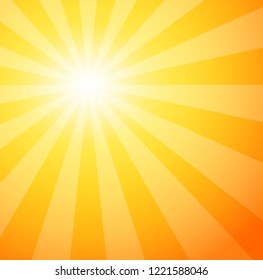 Sunshine. Sunrays explosion abstract background. Closeup view of summer banner for text messages. Sunbeams. Vector illustration