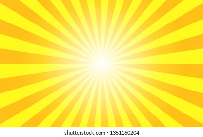 Sunshine vector background. Abstract yellow sunburst wallpaper for template banner,ad,social media.