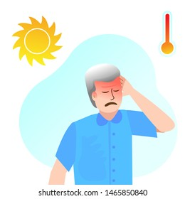 Sunstroke in an elderly man. The character suffers from Headache, malaise, hypertension, fever. The thermometer and the sun. Climate change.