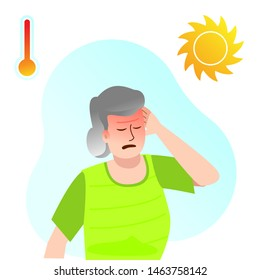 Sunstroke in an elderly woman. Headache, loss of consciousness, malaise to extreme heat. The incident with the old lady. Care of health. The increase in air temperature.
