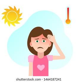 Sunstroke at the girl. Children's headache, dizziness. The child's not feeling well. Vector.