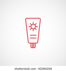 Suntan Cream Red Line Icon On White Background