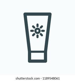 Suntan locion oil icon. Suntan cream vector icon