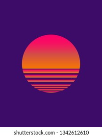 sunwave cosmos/ Synthwave/ cyberpunk Sun, Logotype or music cover/ poster template