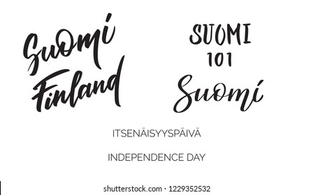Suomi/Finland, 101 years of independence on finnish, Lettering set, words, typography, calligraphy. Concept morden inscriptions. Vector writings in black for title, banner, flyer, poster, greetings