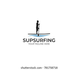 Sup Surfing Logo Template. Paddle Boarding Vector Design. Stand Up Paddle Illustration