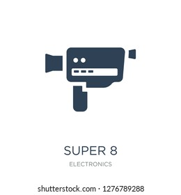 super 8 icon vector on white background, super 8 trendy filled icons from Electronics collection, super 8 vector illustration