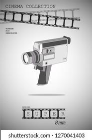Super 8mm. Vintage video camera. Vector illustration. Vector camera.
