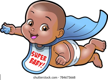 Super Baby AFRICAN AMERICAN cartoon clipart vector.ai
