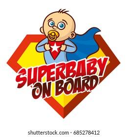 Super baby boy on board Superhero logo Vector sticker