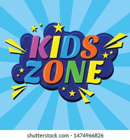 Super Banner for kids zone in cartoon style with burst background