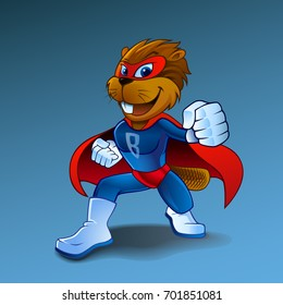 Super beaver in costume character isolated. Beaver vector illustration, with Superhero vector cartoon illustration