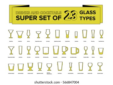 Super big pack of drinks and cocktails glass types. Mugs and stemware with names.