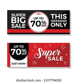 Super Big Sale and Super Sale Banners with 70% Discount