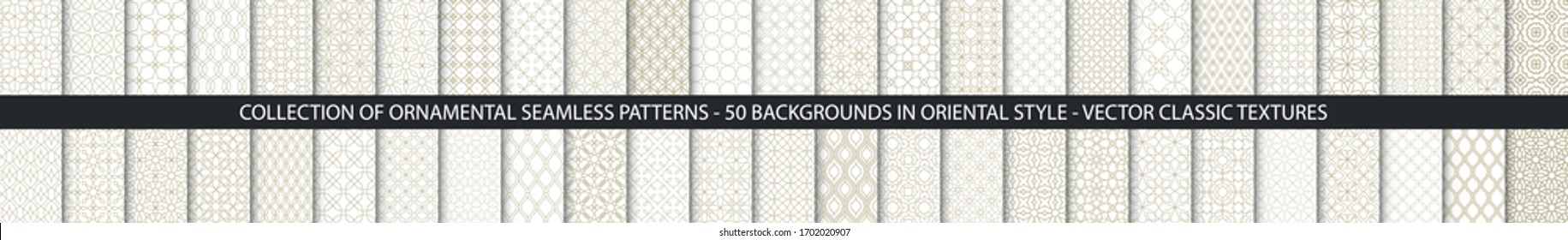 Super Big set of 50 oriental patterns. White and gold background with Arabic ornaments. Patterns, backgrounds and wallpapers for your design. Textile ornament. Vector illustration.
