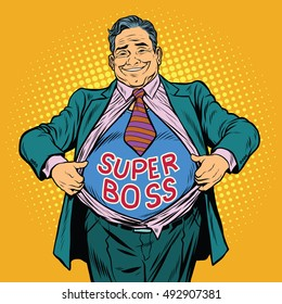 Super boss, a fat man businessman hero, pop art retro vector illustration. The chief breaks the suit, the gesture of a superhero