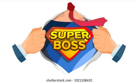 Super Boss Sign Vector. Successful  Business Man. Super Leader. Superhero Open Shirt With Shield Badge. Isolated Flat Cartoon Comic Illustration