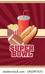 super bowl lettering with balloon and fast food vector illustration design
