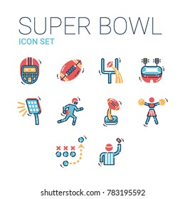Super bowl sport games celebration icons. American football vector icon set including helmet, rugby, goal post, stadium, light, quarterback, award, cup, referee, strategy, cheerleader.