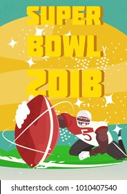 Super Bowl vector retro poster design. American football cartoon scene character. Sport people illustration. American football player in the action in stadium. -stock vector