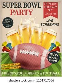Super Bowl vintage poster.