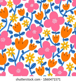 Super bright and colorful cartoon abstract flowers, vector seamless pattern