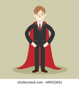 super business man. professional or hero character. successful people. cartoon vector illustration