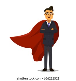 Super business team - Illustration of super leader and super businessmen in red capes