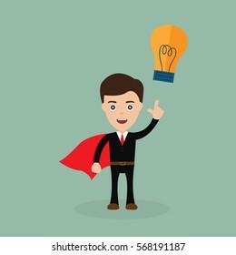Super Businessman with big idea vector illustration.