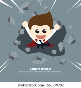 Super businessman breaking the wall. Business, breakthrough, success, challenge concept
