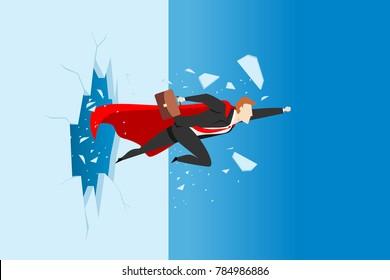 super businessman breaking wall. business concept illustration