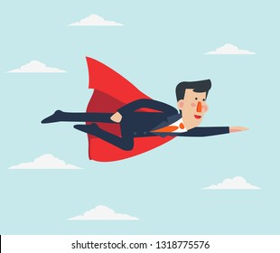 Super Businessman. Cartoon superhero flying with cape waving in the wind. Successful hero businessman. Success, leadership and victory in business vector concept. Young entrepreneur in a superman