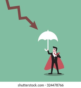 Super businessman   down chart  on red arrow downward trend line protection umbrella , character cartoon  superhero concept  