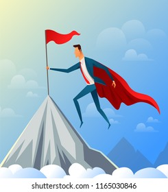 Super Businessman flying on Top of the Mountain with Success Flag. Vector illustration