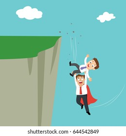 Super businessman to help businessman falling off a cliff, support business survive concept