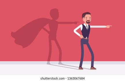 Super businessman in hero pose. Successful male manager admired for courage, outstanding business achievements with shadow waving cloak, excessive pride and self-satisfaction. Vector illustration