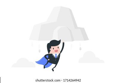Super businessman move the mountain. Powerful businessman concept illustration.