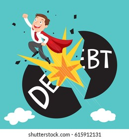 Super businessman punch cracked big debt ball, debt management concept