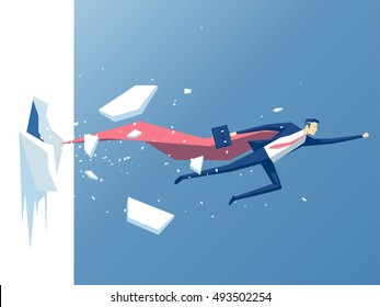 Super businessman punches the wall, employee superhero flying through the wall,  business concept power,  success and overcome difficulties