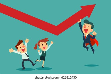 Super businessman in red cape help his team pushing arrow graph up. Business concept.