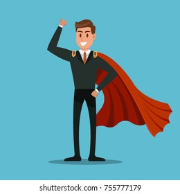 Super Businessman, Success businessman, superhero, success concept.