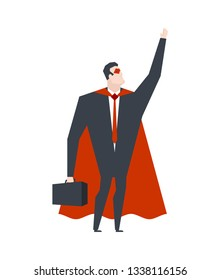 Super Businessman. Superhero manager. Worker in cloak. Superpowers boss