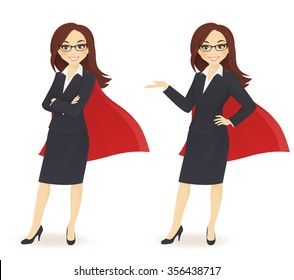 Super businesswoman in different poses
