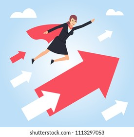 Super businesswoman flying with growth arrows. Success, accelerate your business concept. Flat design vector illustration
