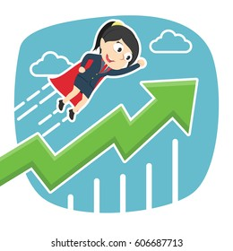 super businesswoman flying with raised graphic